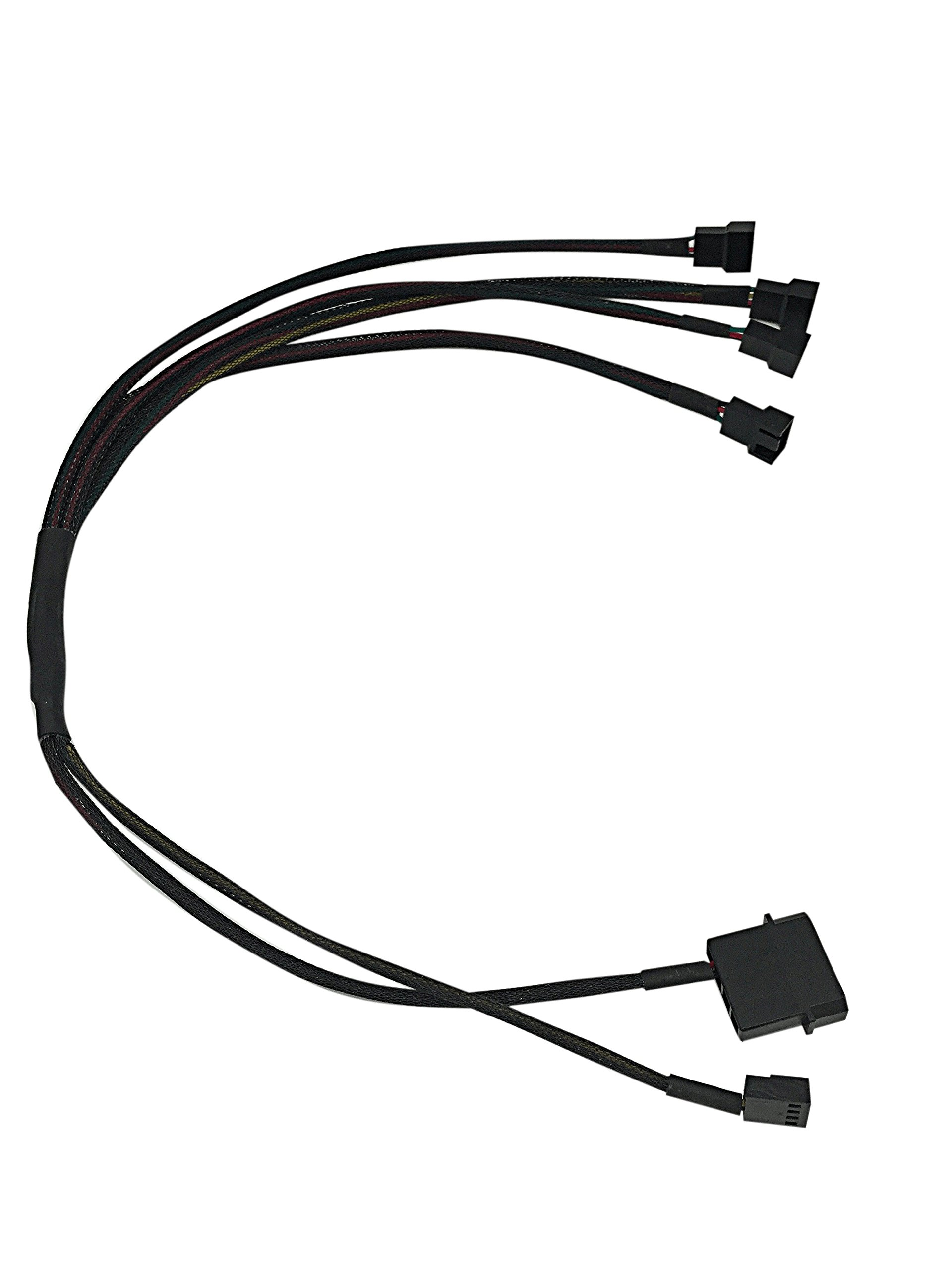 2-Pin Male Molex + small 4P to 4 x 3 Pin Male Computer Case Fan Power Connector Y-Splitter Adapter Cable