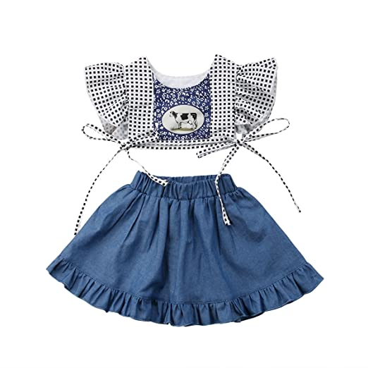 9b11fae471d8 Amazon.com  Infant Baby Girl Cow Print Outfit Ruffle Denim Skirt ...