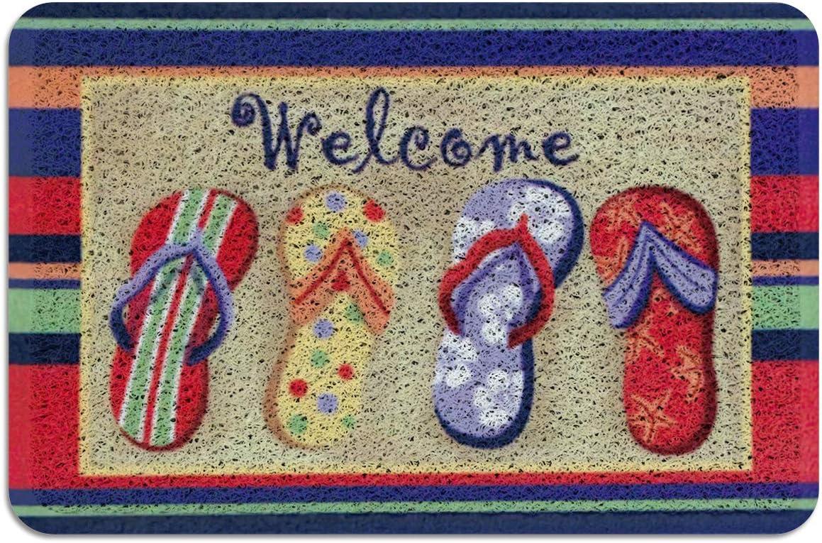 Flip Flops Welcome Outdoor Indoor Doormat 24x36 Inch Beach Slippers Welcome Entrance Door Rug Natural Coir Fiber Entrance Mat Shoe Scraper Non Slip Rubber Backing Area Runner Rugs Garden Outdoor