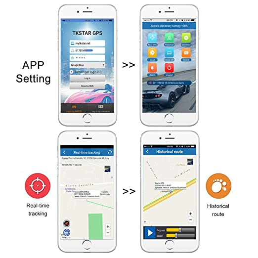 TKSTAR Localizador GPS para Coche , Rastreador GPS Vehículo en tiempo real Localizador tiempo espera 120 días GPS / A-GPS / LBS Localizadores 10000mAh ...