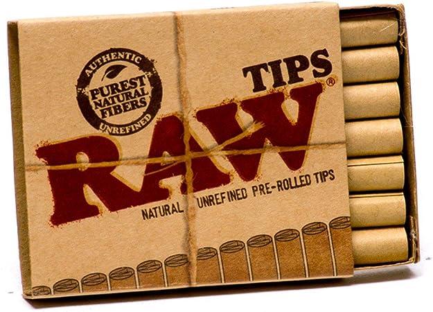 Raw Pre-Rolled Ciggarette Tips Purest Natural Fibers 2 Packs Unrefined 21 ea