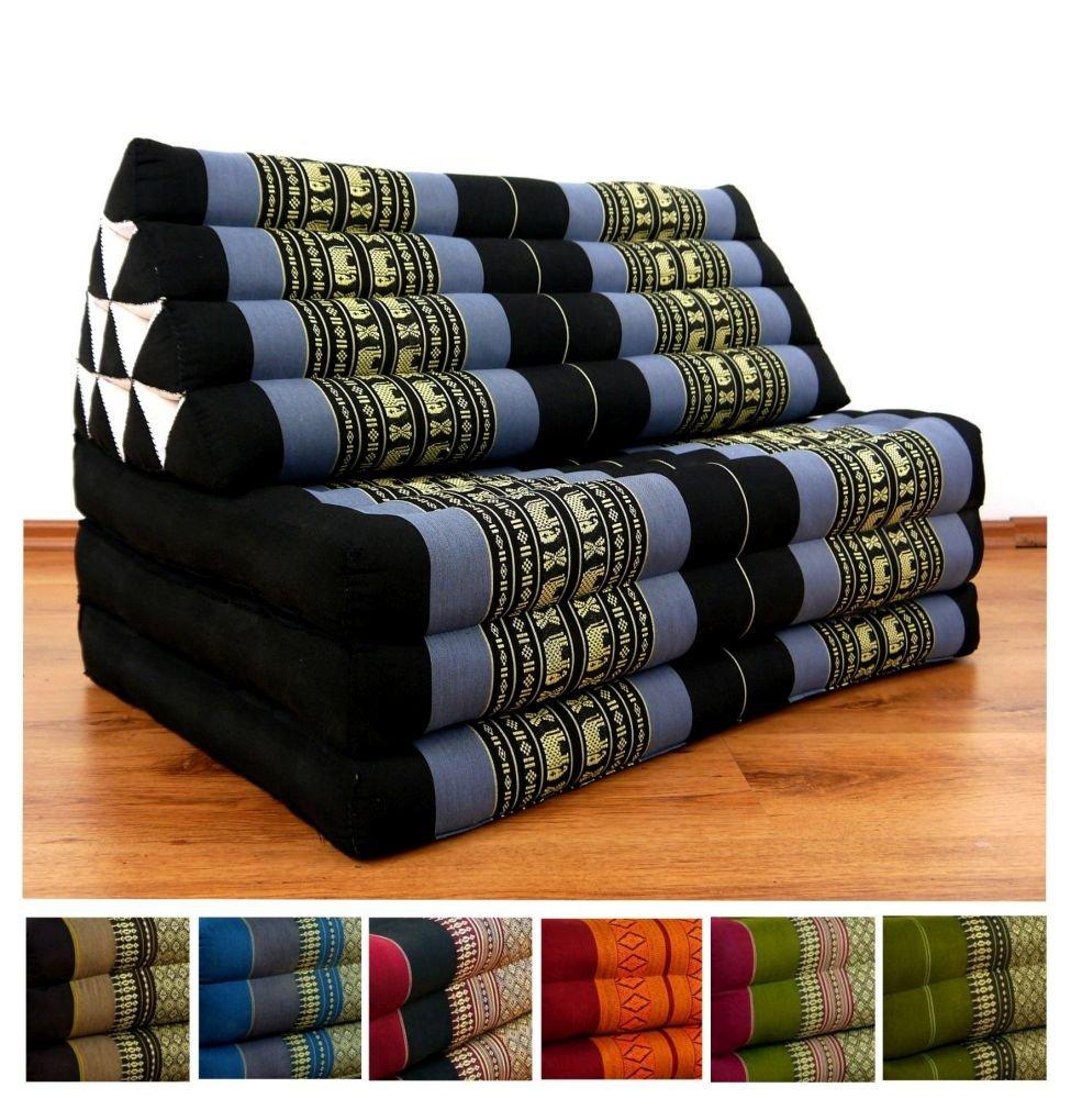 Three Fold XXL Thai Cushion, 72x32x3 inches (LxWxH), 100 % Natural Kapok Filling, Foldable Thai Mat with Triangle Cushion, Headrest, Thai Pillow