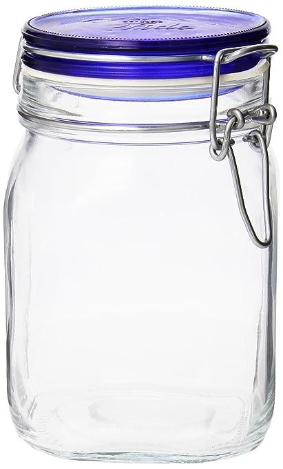 Amazoncom Bormioli Rocco Fido Square Jar with Blue Lid 33 34