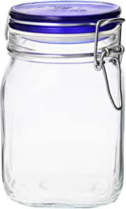 Bormioli Rocco Fido Square Jaw with Blue Lid, 33-3/4-Ounce, 33.75 Ounce, Clear