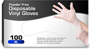 Vinyl Gloves, Disposable Gloves, Comfortable, Powder Free, Latex Free | 100 Pcs Large (XLarge)