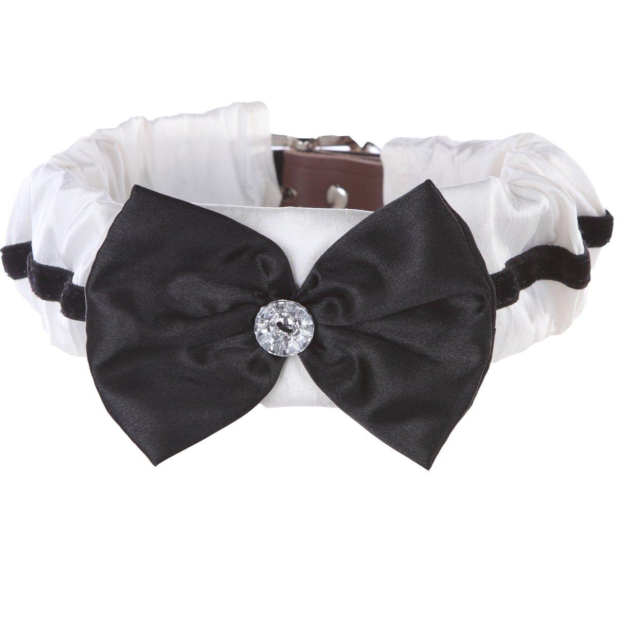 Medium Black & White Bow Tie Dog Collar Cover (Medium)