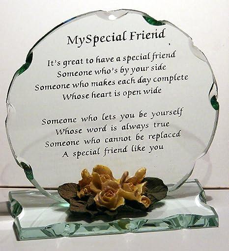 Inspirational Cut Glass Poem Plaque Unique Special Friend Keepsake