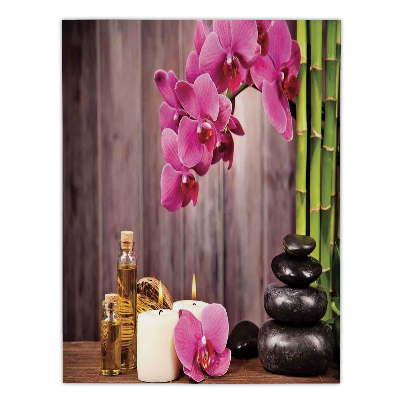 iPrint Satin Rectangular Tablecloth [ Spa Decor,Spa Orchid Flowers Rocks Bamboo Asian Style Aromatherapy Massage Therapy Decorative, Dining Room Kitchen Table Cloth Cover