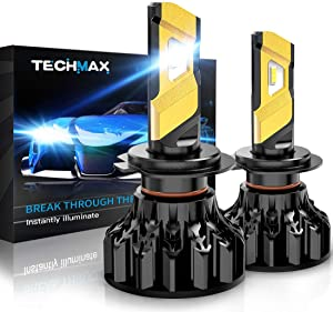 TECHMAX H7 LED Headlight Bulb,360 Degree Adjustable Beam Angle Cree Chips 12000Lm 6500K Xenon White Extremely Bright Conversion Kit of 2