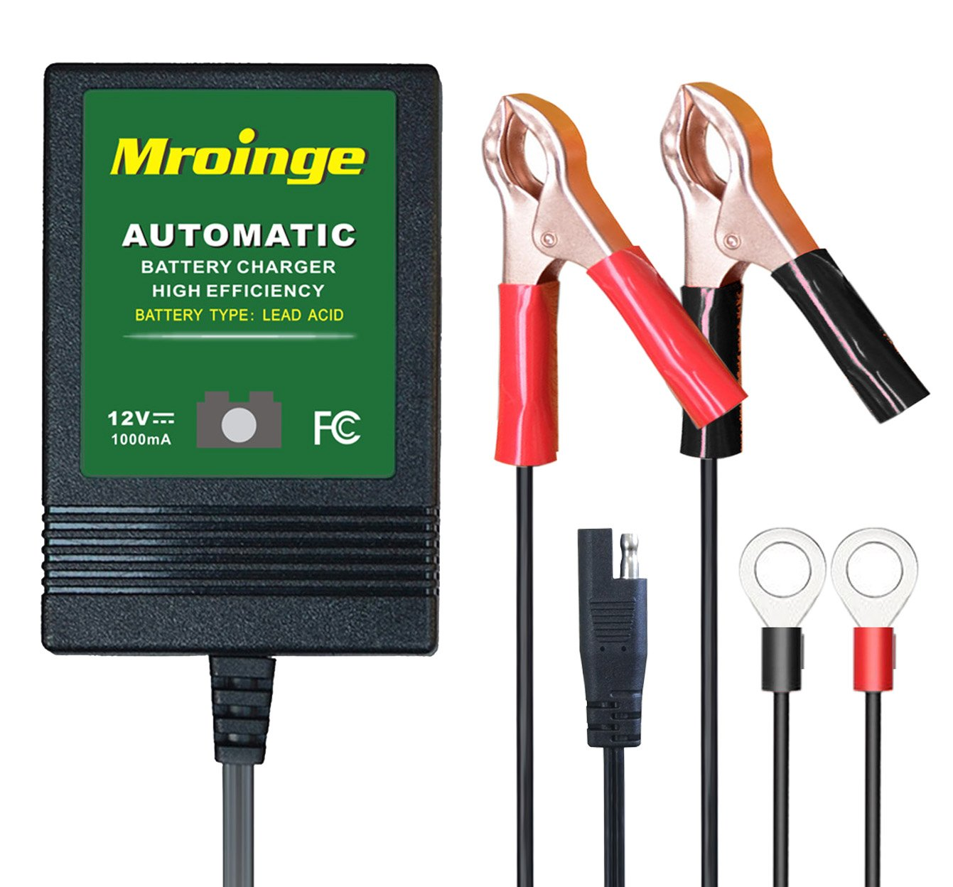 Mroinge automotive trickle battery charger maintainer 12V 1A for car motorcycle Lawn Mower SLA ATV WET AGM GEL CELL Lead Acid Batteries, Smart battery charger is tender charge for protect your battery