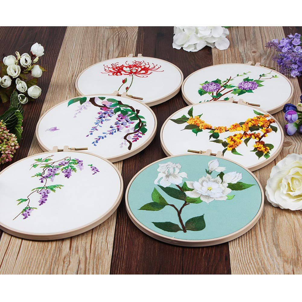 Embroidery Hoop Creative Flower Hand Embroidery Cross Stitch Starter Needlepoint Crafts Kit with Color Pattern Cloth Jakaranda Embroidery Kit Color Threads and Tools Kit for Home Decor