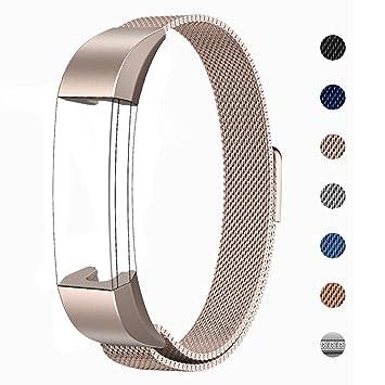 Reteck Bracelet en acier inoxydable avec maille milanaise et fermoir magnétique pour montre connecté