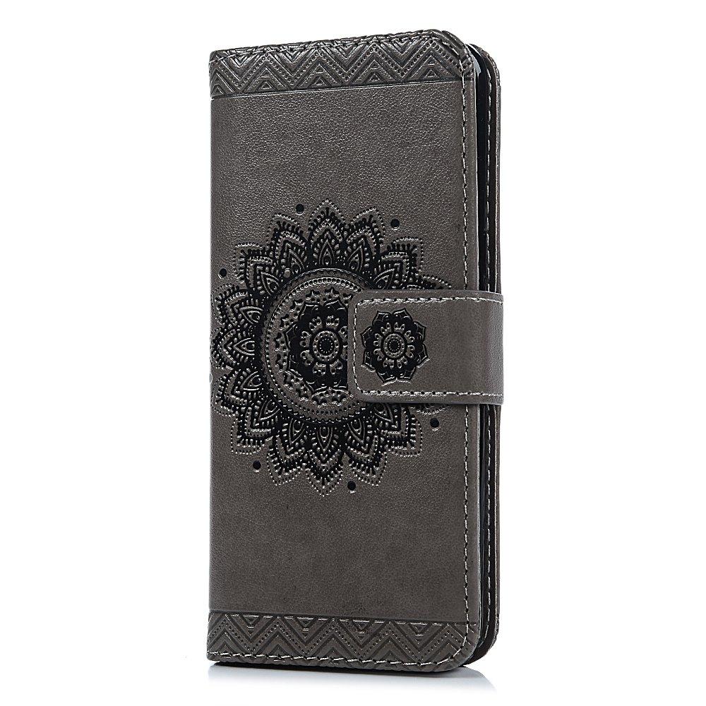 Mlorras H/ülle f/ür Samsung Galaxy S8 Gepr/ägtes Totem Leder Handyh/ülle Klappbares Brieftasche Schutzh/ülle Wallet Case Cover mit Integrierten Kartensteckpl/ätzen Grau