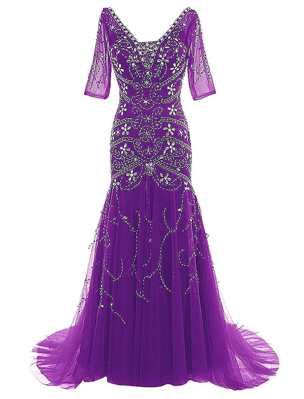 Purple Ellenhouse Mermaid Beaded Mother of Bride Dress with Sleeves Prom Gowns EL081