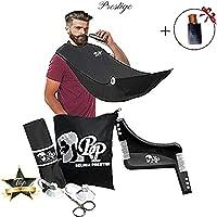 Kit de rasage complet, Bavoir à barbe avec 2 Ventouses + 1 peigne contour barbe symétrique + 1 Peignes à Barbe/Moustache et son étui OFFERT + 1 Sac de rangement et 1 paire de ciseaux
