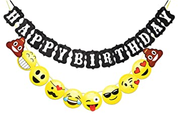 TAOTEC Happy Birthday Bunting Banner With Emoji For Party Decorations 103 Ft String