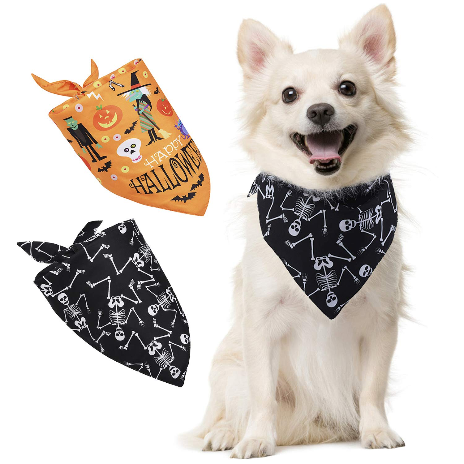 2PCS Halloween Pet Bandana Cute Pet Bib Triangle Bandana Bib for Dogs Cats