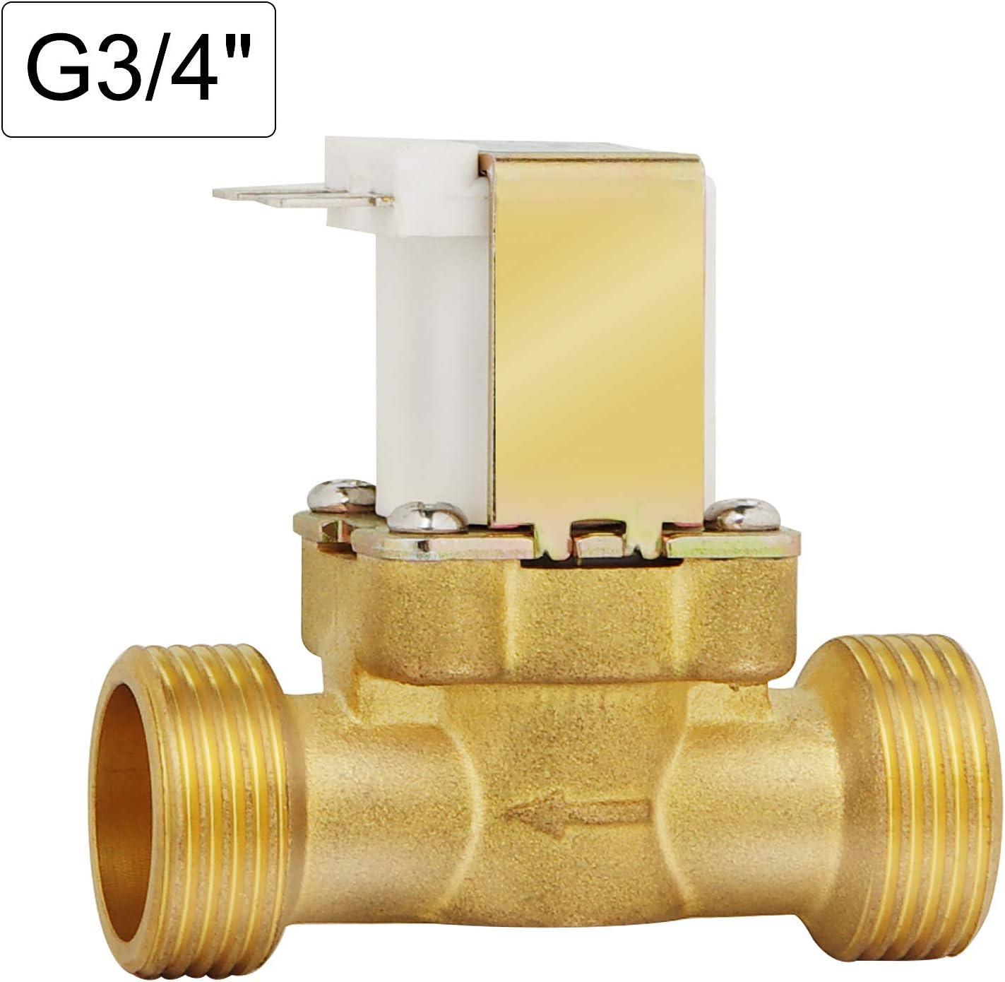 EXLECO Electrov/álvula 12V DC V/áLvula Solenoide El/éctrica G1//2 Electrov/álvula de Lat/ón Normalmente Cerrada Para Control de Agua N//C