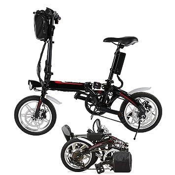 Qulista Bicicleta Eléctrica de Montaña Bicicleta Plegable de Ruedas 14 Pulgadas con Batería de LON de