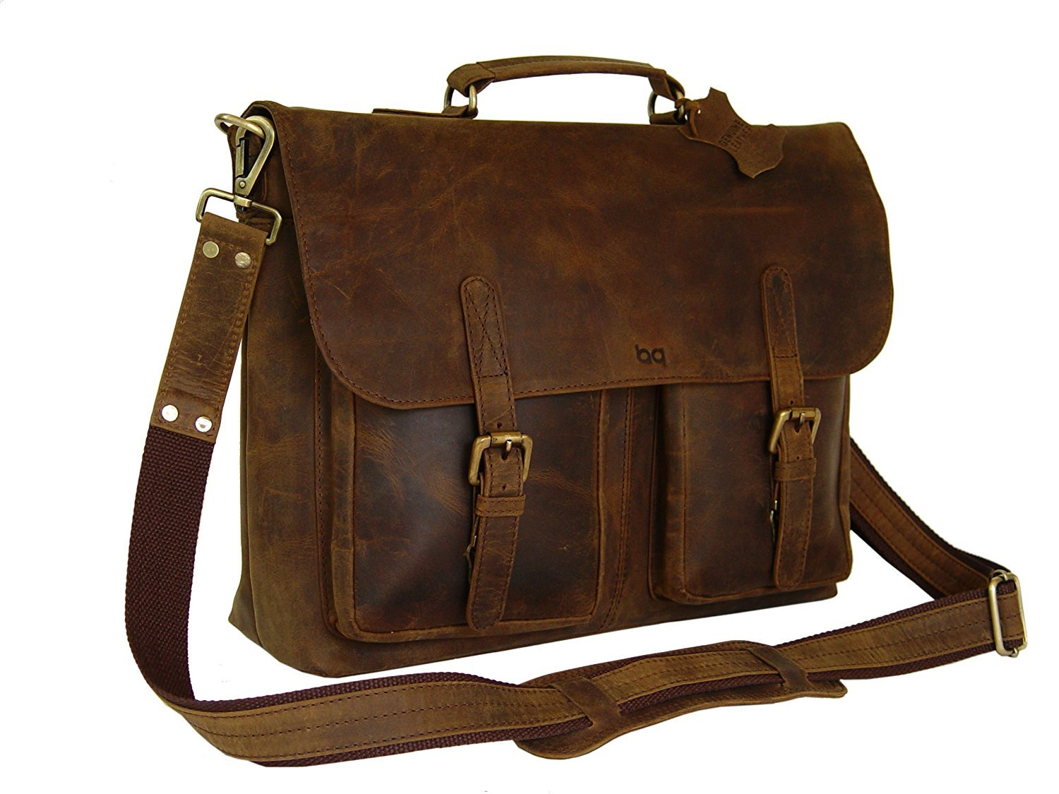 a7e5afc8b7c outlet 18 Inch Retro Buffalo Hunter Leather Laptop Messenger Bag Office  Briefcase College Bag By RK