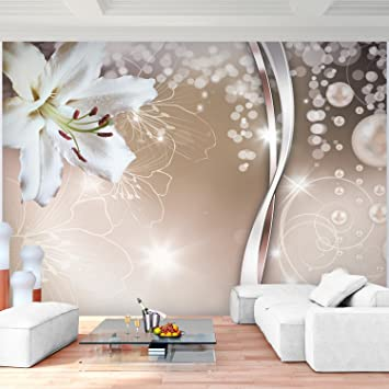 Fototapete Blumen Lilien Weiß Vlies Wand Tapete Wohnzimmer ...
