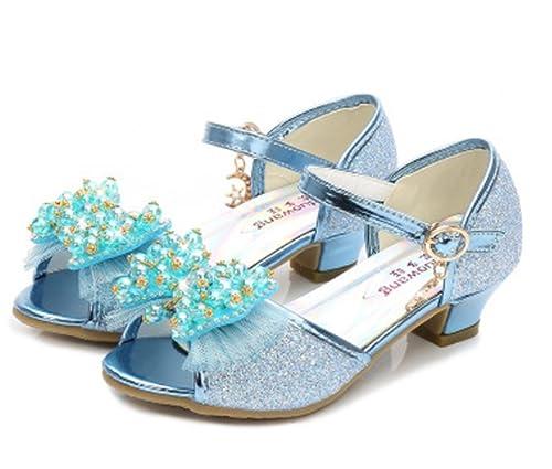 YOGLY Sandalias de Niña Sandalias de Tacón Alto Zapatos de Princesa Lazo  Niñas 2018 Verano Lentejuelas de Perlas Zapatos de Cristal de Fantasía   Amazon.es  ... 86aeb2c48dd3
