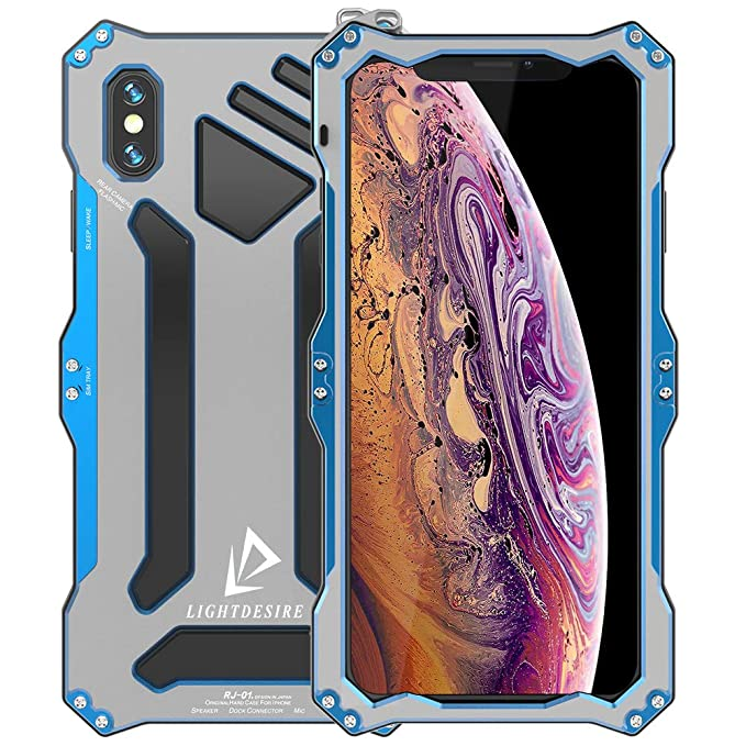 detailed look 26773 a75bd iPhone XR Case LIGHTDESIRE Shock Resistant Aluminum Metal Bumper Military  Cover Shell Protective Lens with Rope Strap for iPhone XR - Arctic Silver  ...