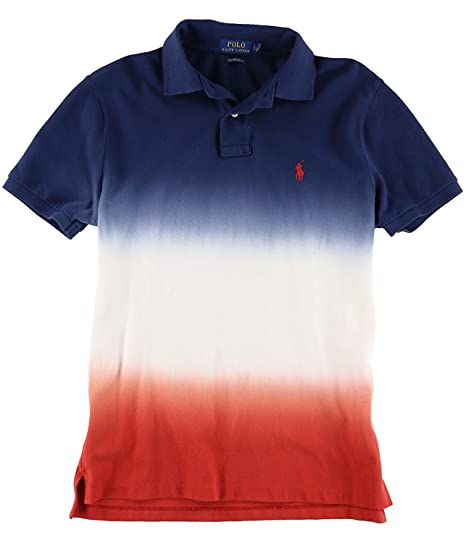 83772394 RALPH LAUREN Polo Mens Custom Slim Fit Fourth Of July Dye Polo Shirt  Blue/White (Large) at Amazon Men's Clothing store: