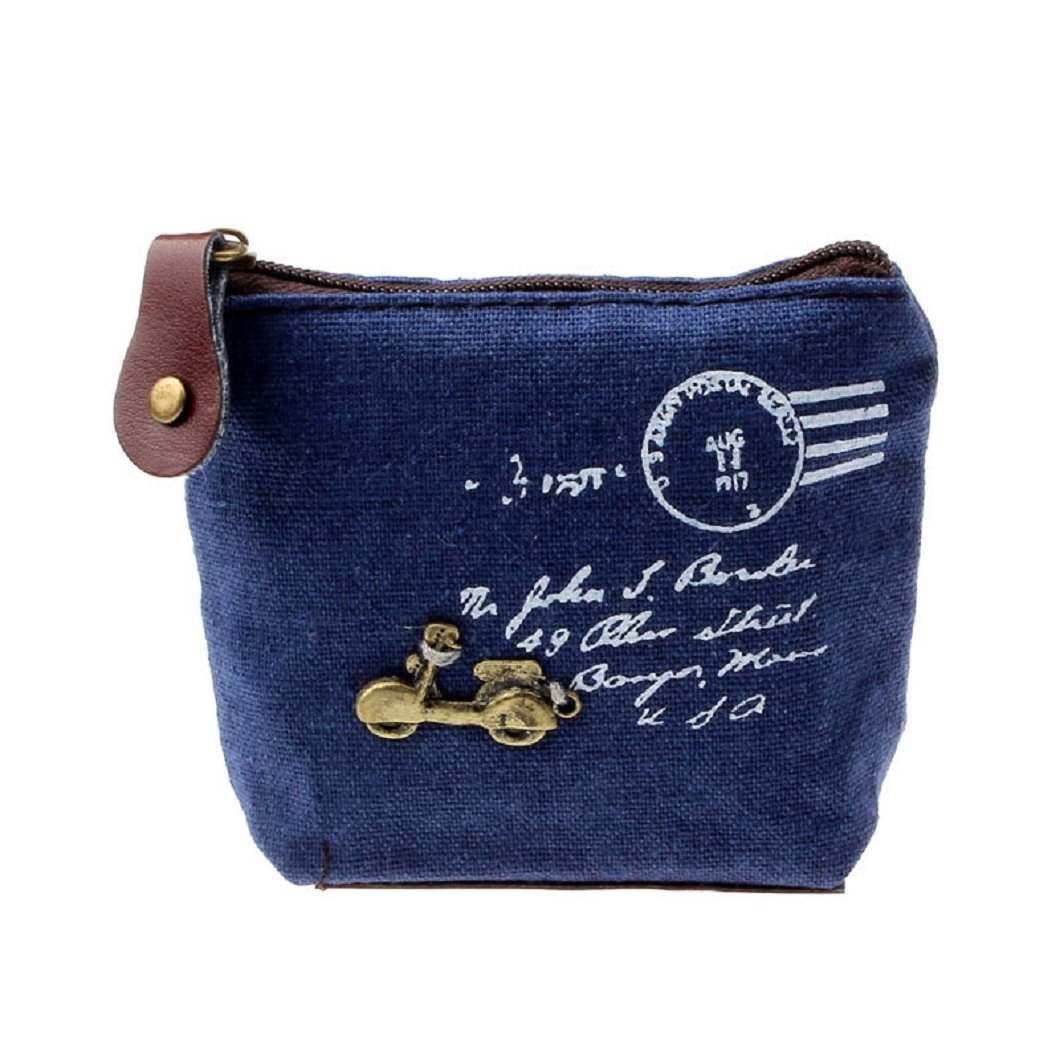 DZT1968(TM)Women Canvas Retro Small Mini Square Eiffel Wallet Coin Purses Clutch Money Pouch Bags Gift (Blue)