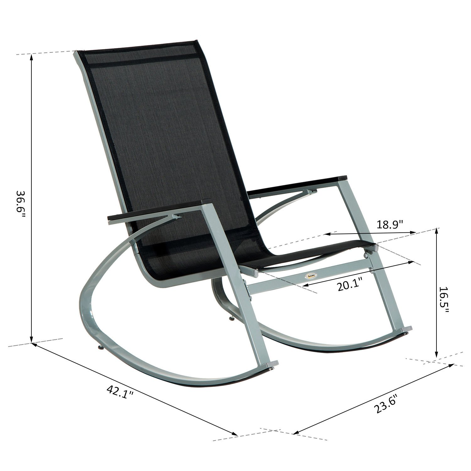 Outsunny Padded Steel Sling Porch Rocker Patio Chair Garden Outdoor Jpg  1500x1500 Composite Rocking Chairs Outdoor