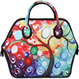 ICOLOR Women and Teen Girls Downtown Large Size Insulated Neoprene Lunch Bag with Reusable Zip Closure Handbag,Stylish Adult Lunch Box for Outdoors,Work,Office, School,Shopping,Gym(Colorful Tree)