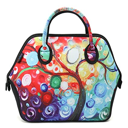 2cb6ab55a866 ICOLOR Women and Teen Girls Downtown Large Size Insulated Neoprene Lunch Bag  with Reusable Zip Closure