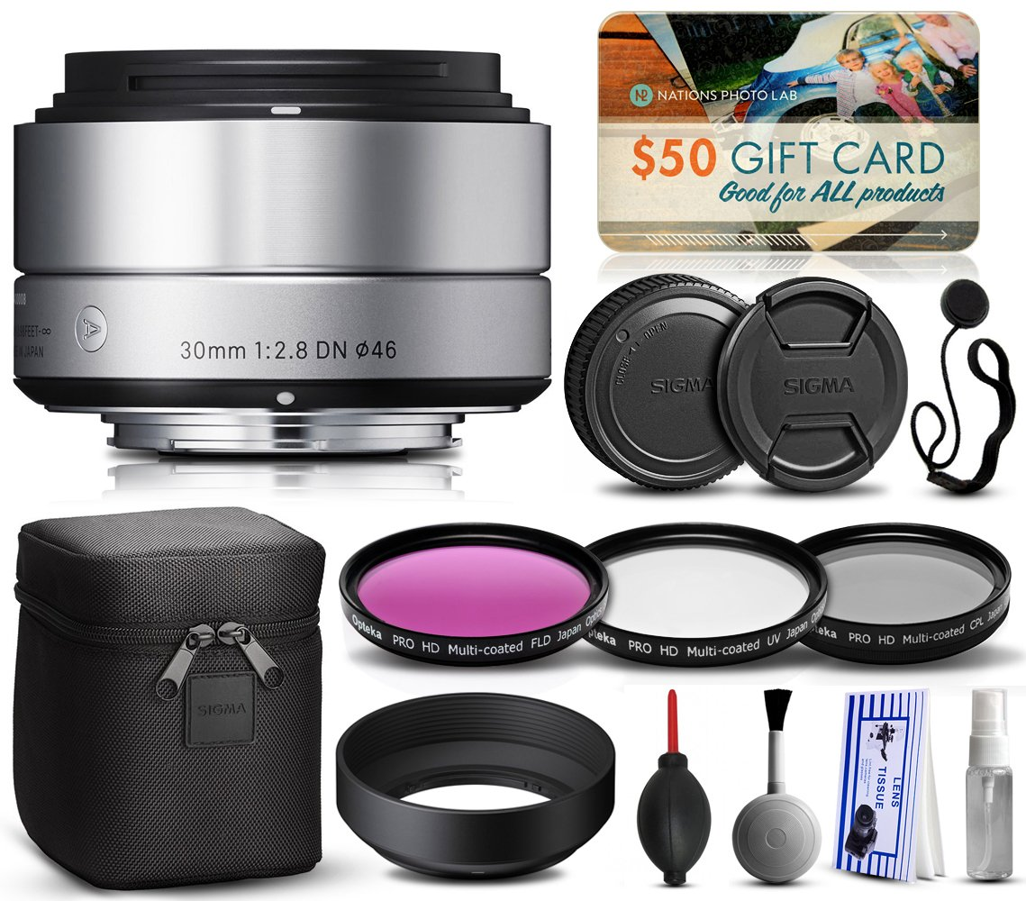 Sigma 30mm F2.8 DN Silver Lens for Panasonic/Olympus Micro Four Thirds (33S963) includes 3 Piece Filter Set (UV-CPL-FLD) + Deluxe Cleaning Kit + Air Dust Blower + Cap Keeper Prints by 47th Street Photo