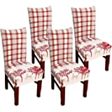 Christmas Dining Room Chair Covers, Soft Fabric Removable Washable Kitchen Chair Covers,Christmas Kitchen Chair Covers Protec
