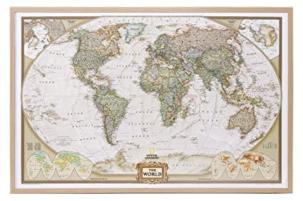 Amazon world map national geographic cork pinboard prints world map national geographic cork pinboard gumiabroncs Image collections