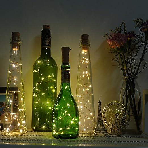 Rabi botella luces, Pack de 6 botellas de vino corcho guirnalda de luces LED 20 LED de 40 pulgadas de cobre de luces luz estrellada para botella DIY, ...