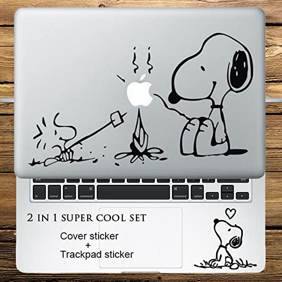 Circle Love Computer Decals Peanuts Barbecue 2 In 1 Cover Sticker + Trackpad Stickers Set Laptop