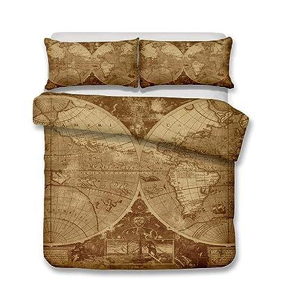 Amazon.com: YOMIMAX Vintage Map Bedding Antique Medieval ...