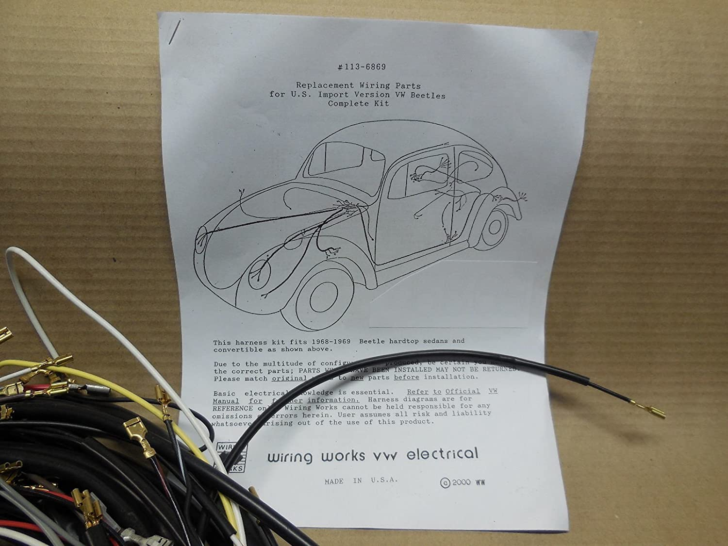 Amazon 19621964 Vw Volkswagen Std Bug Sedan T1 Wiring Works. Amazon 19621964 Vw Volkswagen Std Bug Sedan T1 Wiring Works Main Harness Kit Usa Made Automotive. Volkswagen. Vw Bug Wiring Harness Kit At Scoala.co