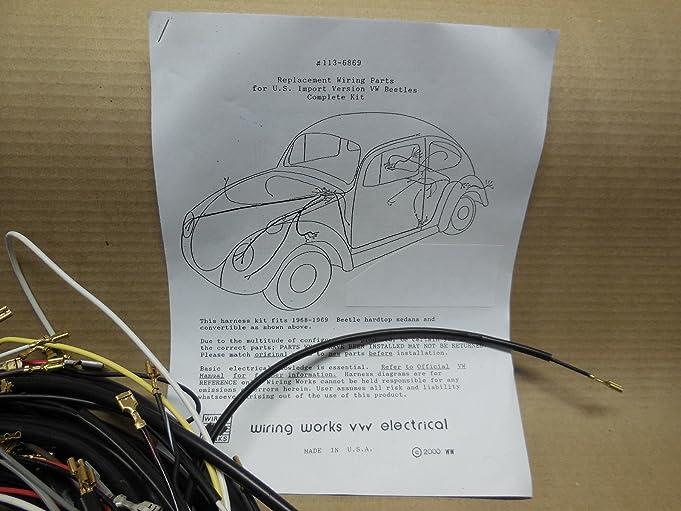 amazon com 68 69 vw volkswagen sedan complete wiring works harness rh amazon com 67 VW Wiring Diagram VW Wiring Diagram