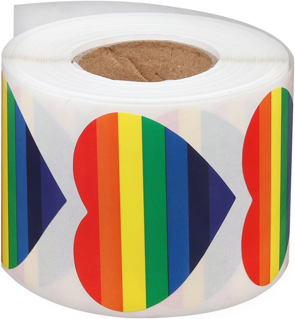 SD Gay Pride - Cinta adhesiva en forma de corazón de 7 colores, 500 pegatinas: Amazon.es: Juguetes y juegos