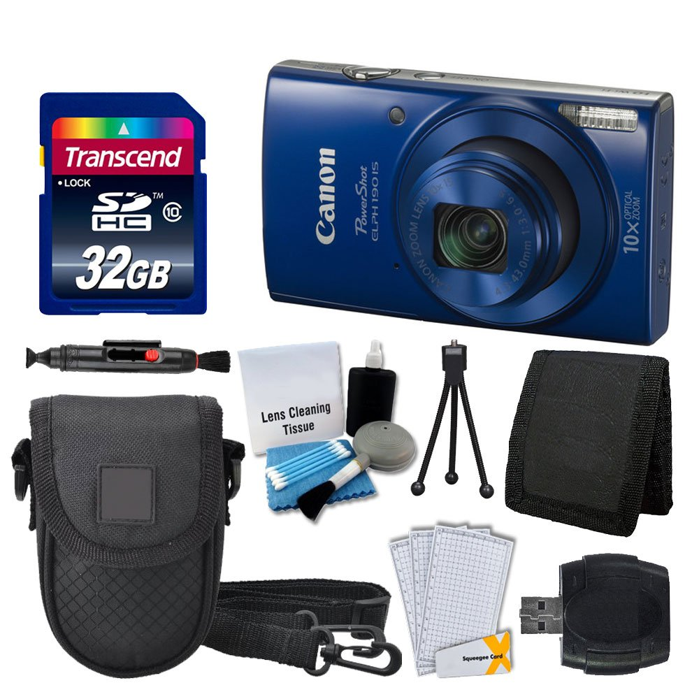 Canon PowerShot ELPH 190 IS Digital Camera (Blue) + Transcend 32GB Memory Card + Camera Case + USB Card Reader + Screen Protectors + Memory Card Wallet + Cleaning Pen + Great Value Accessory Bundle by PHOTO4LESS