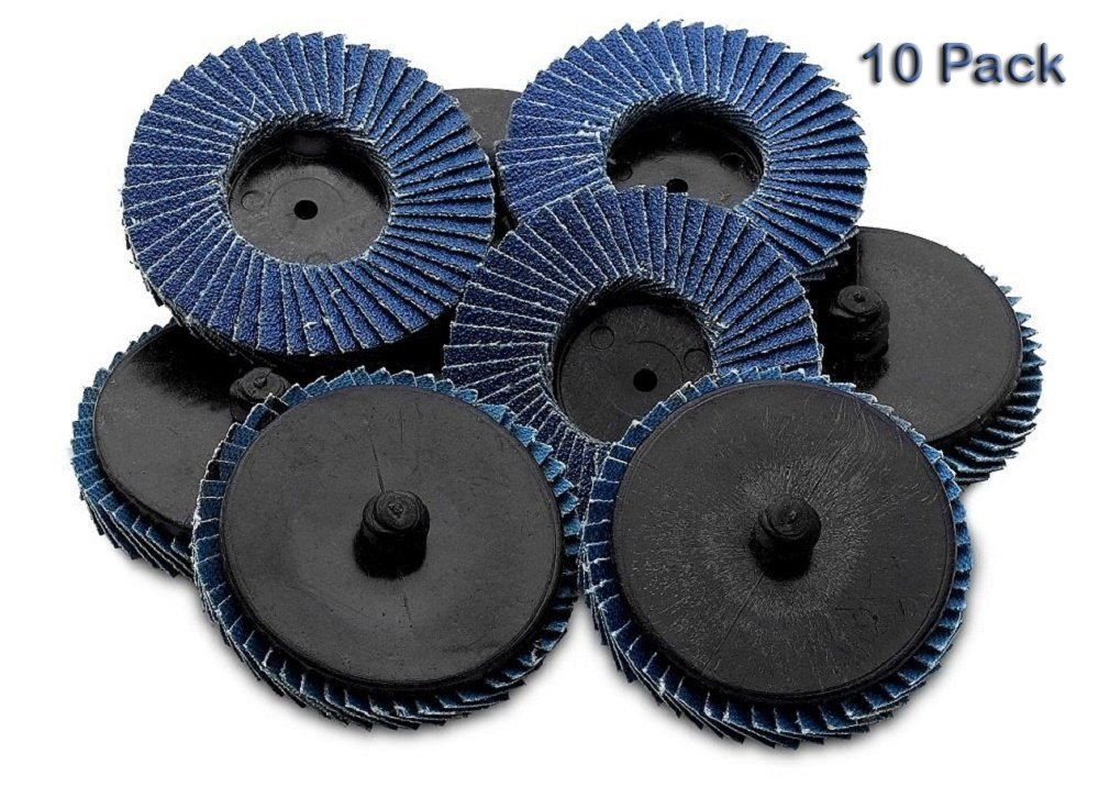 Flap Discs 60 Grit 10 Pieces 2'' -Quick Change Grinding Wheels - For Rotary Tools, Die Grinder, Drill, Blending And Finishing Applications, By Katzco. by Katzco