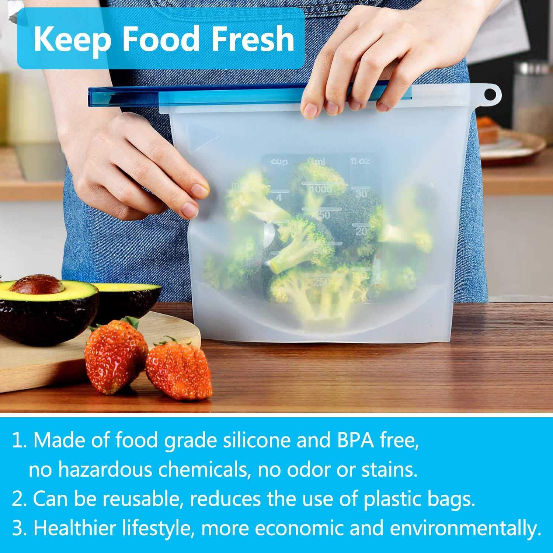 Bolsas de Silicona Reutilizables 1 L Libre de BPA 4 Piezas Bolsa de Almacenamiento Silicona Comida Preservaci/ón y Congelaci/ón Para Herm/ética Fruta Sopa de Verduras Leche Carne Resistente a Fugas