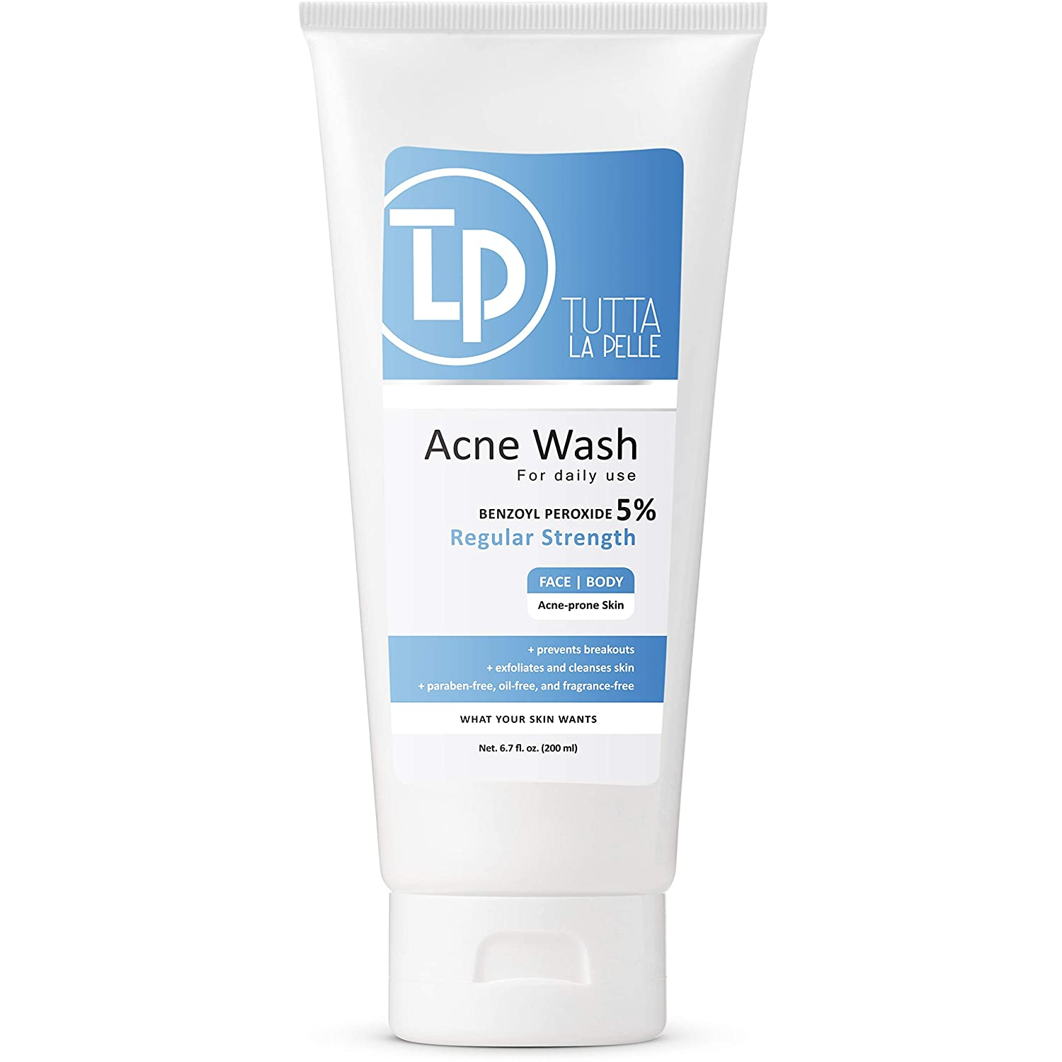 Benzoyl Peroxide 5% Wash Acne Treatment Face Wash & Body Wash -Butt & Back Acne Treatment 6.7 oz