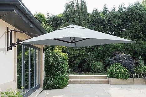 Instant Parasol Norfolk Leisure - Sombrilla Cuadrada de 2 m para Montar en la Pared (Marco de Aluminio, 220 g, toldo de poliéster y 14 Varillas DE 14 mm): Amazon.es: Jardín