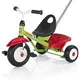 Kettler Funtrike Emma - das coole Dreirad mit Schiebestange - Kinderdreirad für Kinder ab 2 Jahren - stabiles Kinderfahrzeug inkl. kippbarer Sandschale - grün & rot