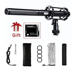 Interview Shotgun Microphone XLR, BOYA BY-PVM1000 Pro Broadcast-Quality Mic with Foam Windscreen & Shock Mount & 3 Pin XLR Output for Canon 6D Nikon D800 Sony Camcorders New Gathering YouTube Video