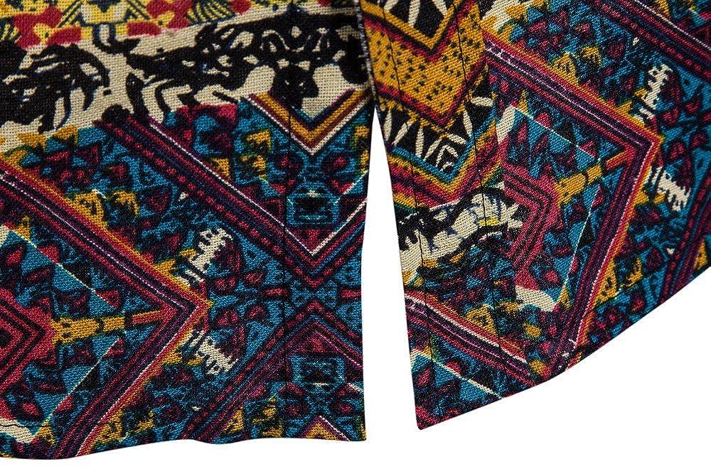 VICCKI Men Summer Bohe Floral Short Sleeve Linen Basic T Shirt Blouse Top Plus Size