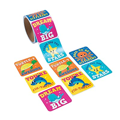Fun Express Under The Sea Jumbo Roll Stickers - 100 Pieces - Educational and Learning Activities for Kids: Toys & Games